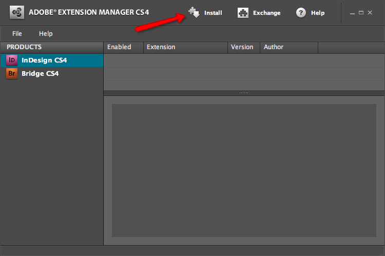 Extension Manager install
